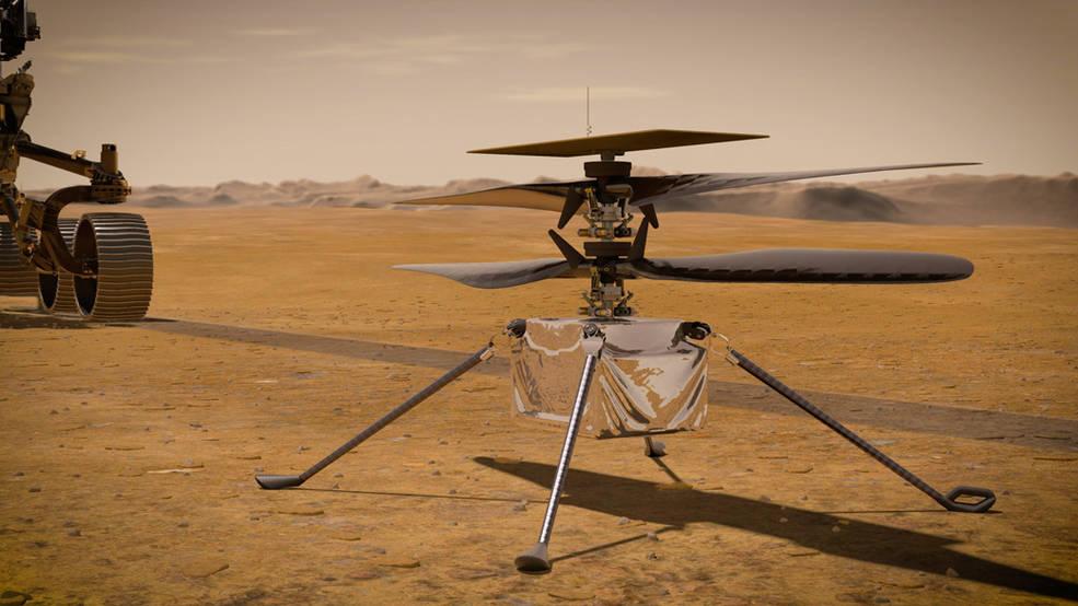 En este ejemplo, el ingenioso helicóptero de la NASA se encuentra en la superficie del Planeta Rojo.