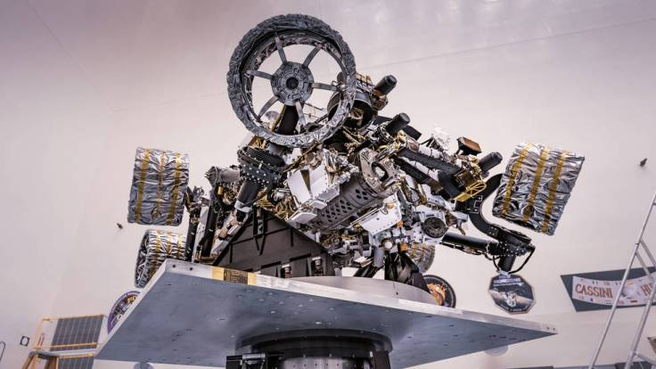 Another view of NASA's Perseverance rover attached to a spin table during a test of its mass properties.