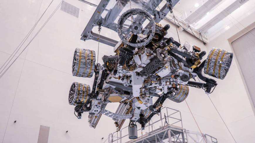 NASA's Perseverance rover is moved during a test of its mass properties at Kennedy Space Center in Florida.