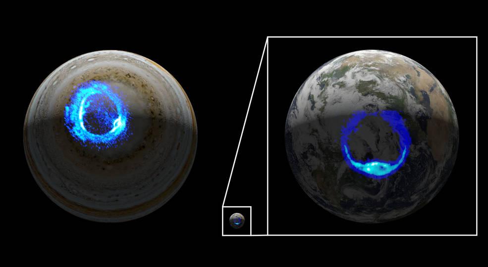 Illustration depicts ultraviolet polar aurorae on Jupiter and Earth