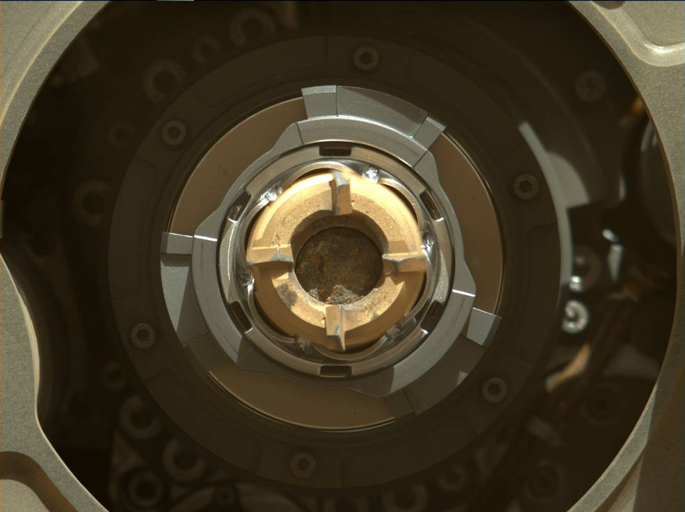 NASA's Perseverance rover shows a sample tube with its cored-rock contents inside