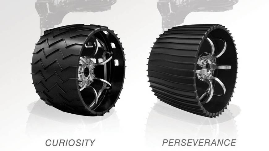 Illustrated here, the aluminum wheels of NASA's Curiosity (left) and Perseverance rovers.
