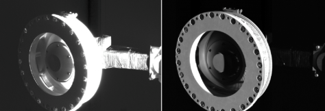These images show the OSIRIS-REx Touch-and-Go Sample Acquisition Mechanism (TAGSAM) sampling head extended from the spacecraft