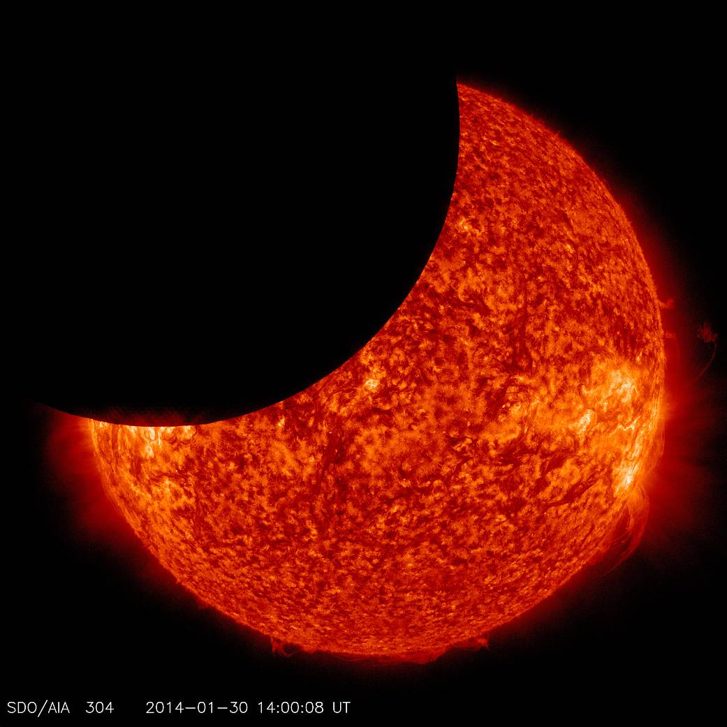 On Jan. 30, 2014, beginning at 8:31 a.m EST, the moon moved between NASA's Solar Dynamics Observatory, or SDO, and the sun, gi