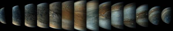 The combined photos showing the sequence of the Juno spacecraft's approach to Jupiter