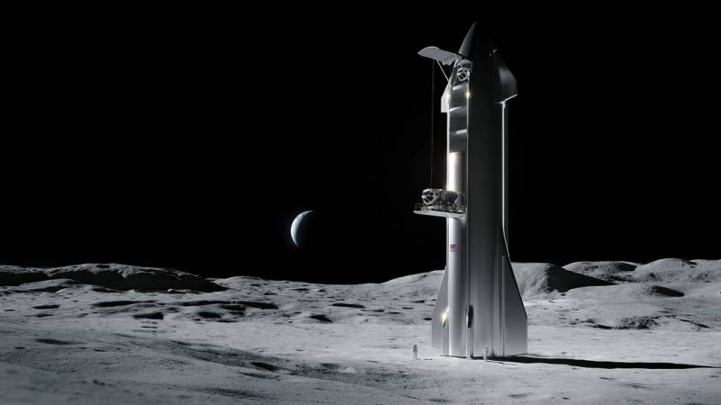 Artist's concept of a SpaceX commercial lunar lander on the Moon. Image credit: SpaceX