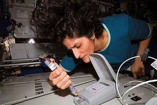 Astronaut Sunita Williams places a sample into test system