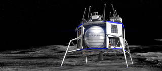 Artist's concept of a Blue Origin commercial lander on the Moon.