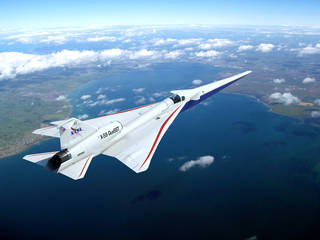 Artist concept of the X-59 in flight over water and land.