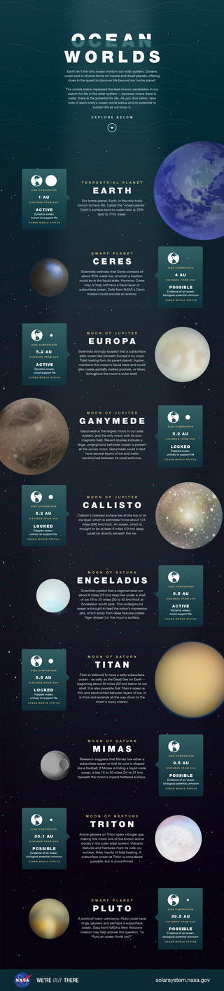 This illustration depicts the best-known candidates in our search for life in the solar system