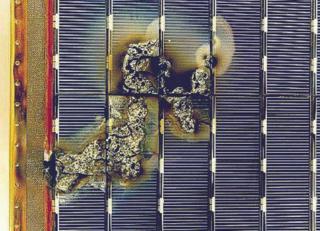 ESA EURECA satellite solar array sustained arc damage.
