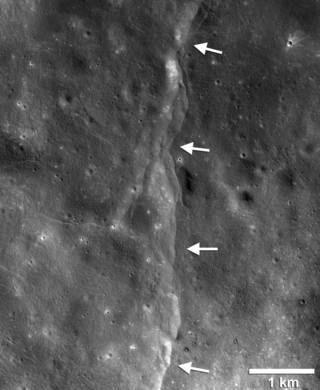 lunar topography with arrows