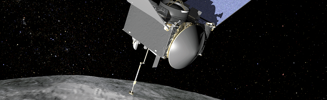 Artist's conception of the OSIRIS-REx spacecraft at Bennu.