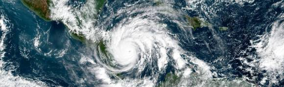 Natural color image of Hurricane Iota in the Gulf of Mexico.