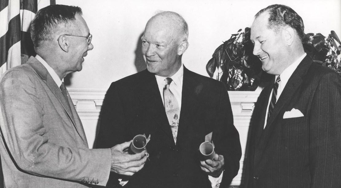 Eisenhower and NASA administrators at NASA opening