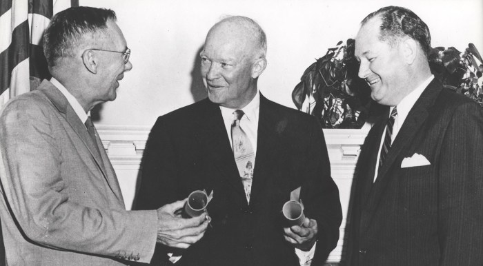 Eisenhower and NASA administrators at NASA opening