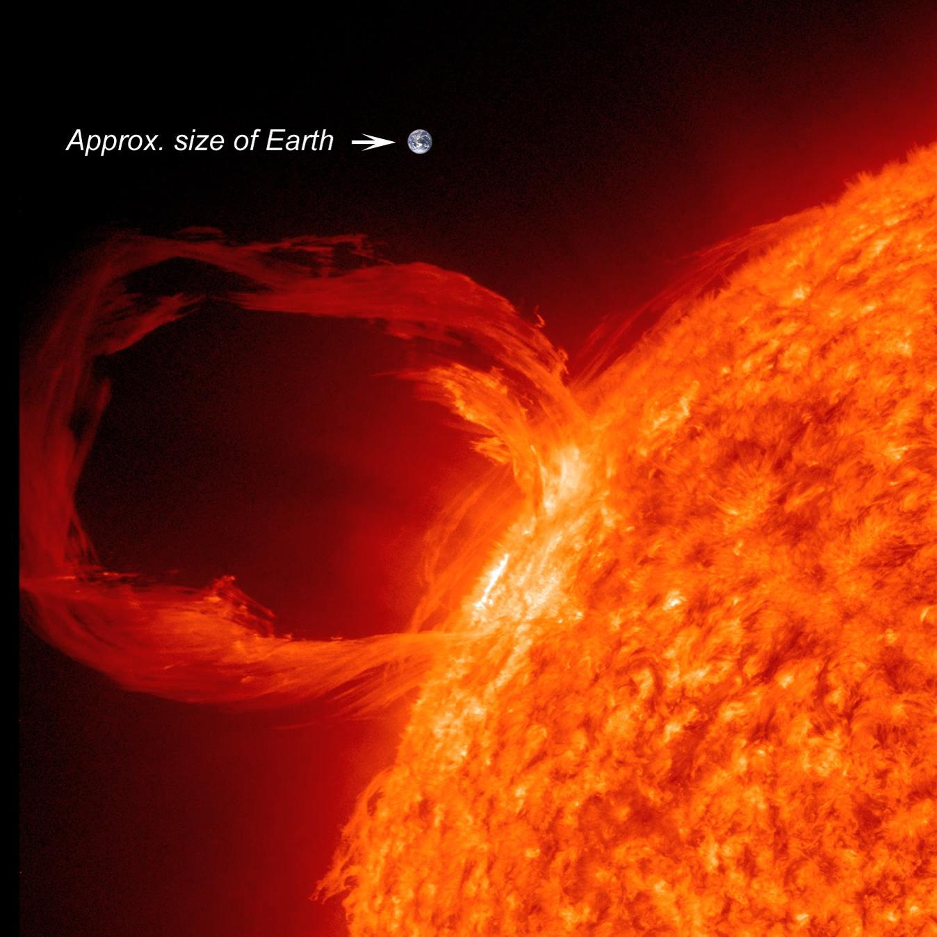 hight resolution of a solar prominence eruption with earth provided for scale