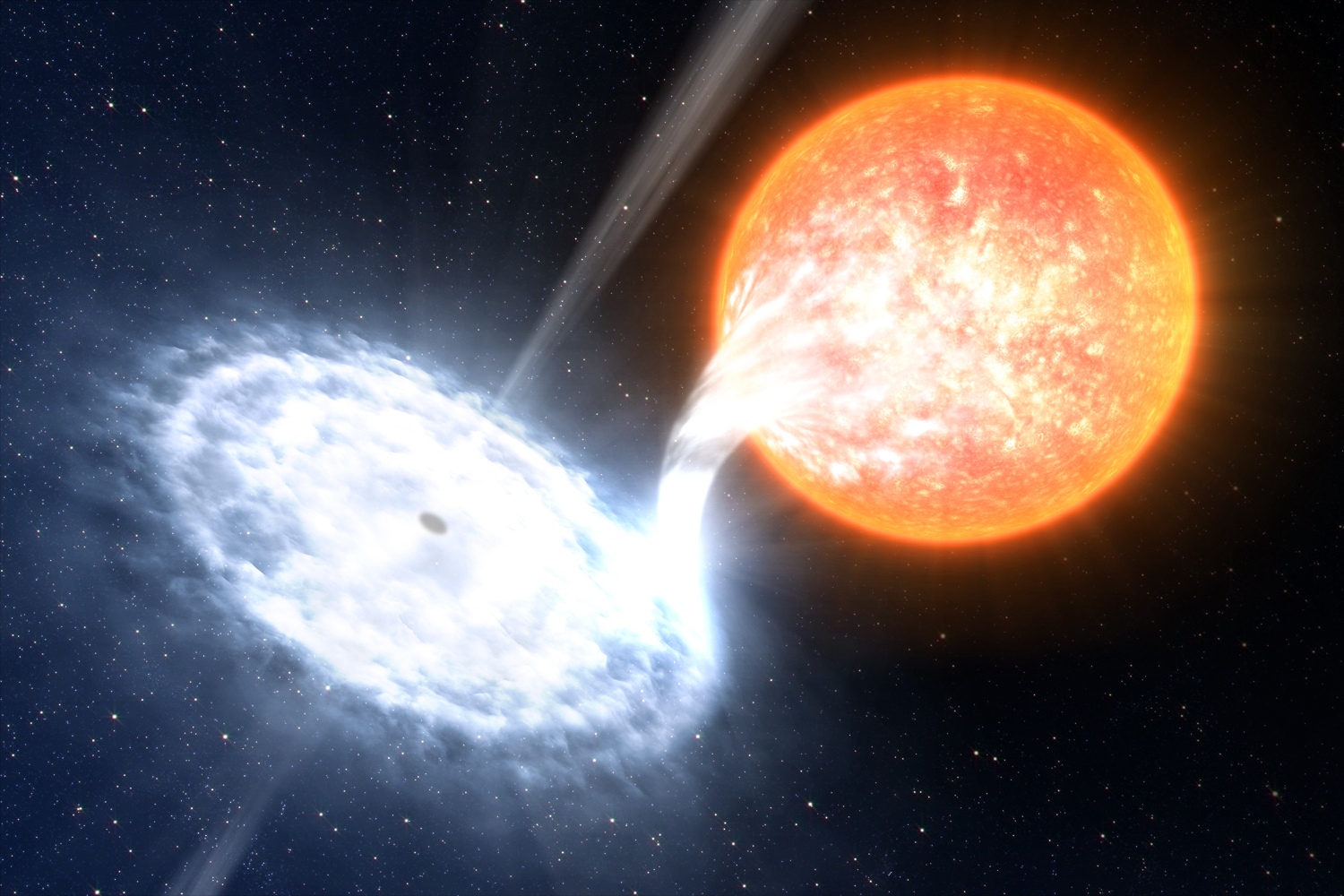 GX 339-4, illustrated here, is among the most dynamic binaries in the sky, with four major outbursts in the past seven years. In the system, an evolved star no more massive than the sun orbits a black hole estimated at 10 solar masses.