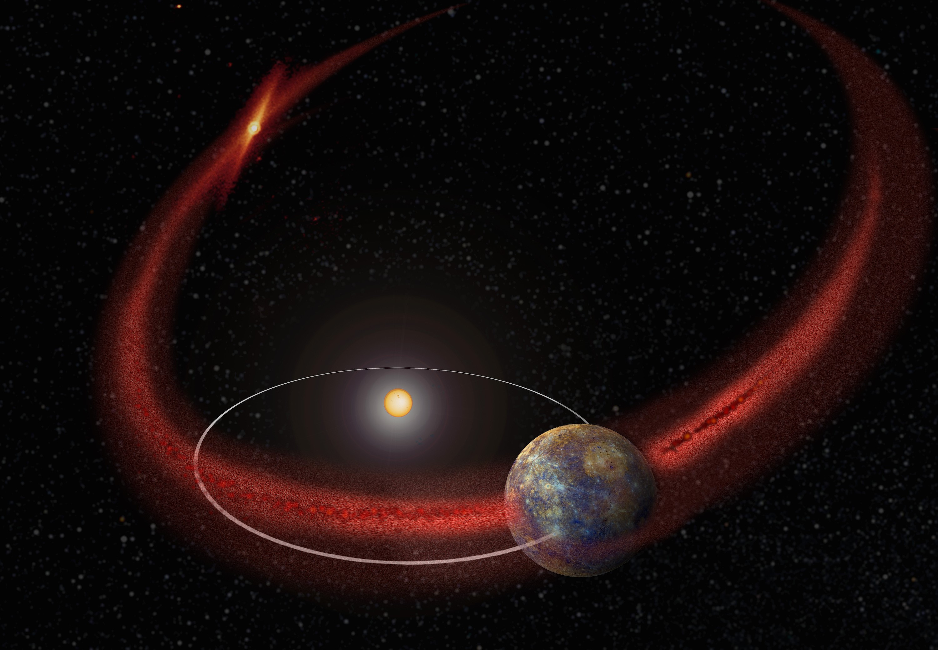 Mercury appears to undergo a recurring meteoroid shower when its orbit crosses the debris trail left by comet Encke. (Artist's concept.)