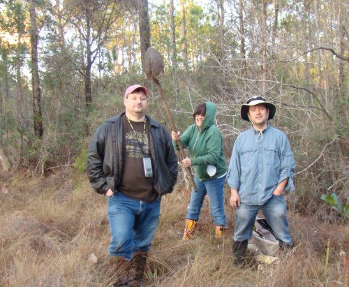 Mark Todd, Sheila Stewart, and Victor Holland in Pensacola collecting a sample of Sarracenia. Lesson learned: Never turn your back on Sheila. Photo by Mason McNair.