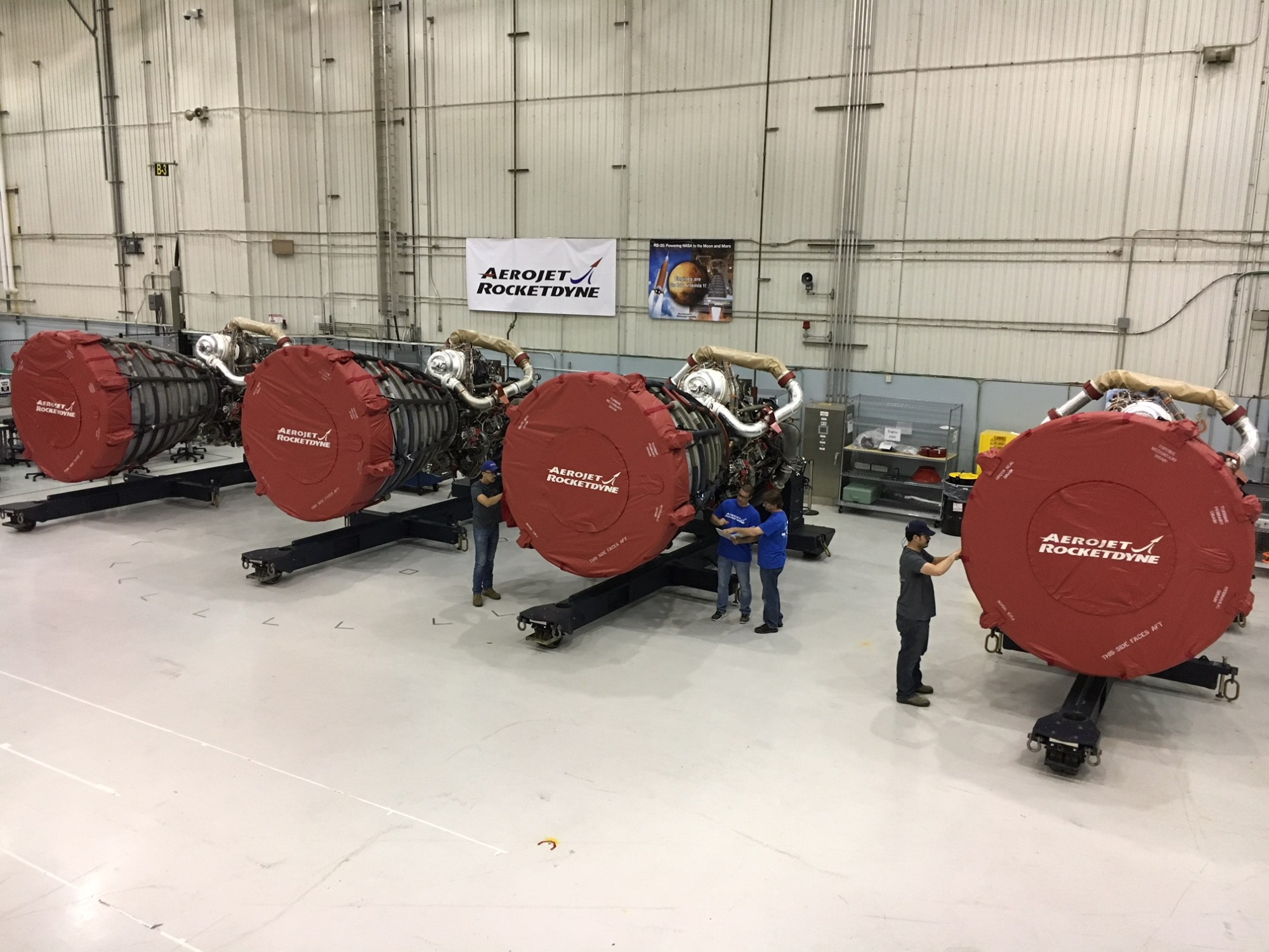 hight resolution of the four rs 25 engines for the first launch of nasa s space launch system sls have all arrived at the factory where their core stage is being completed