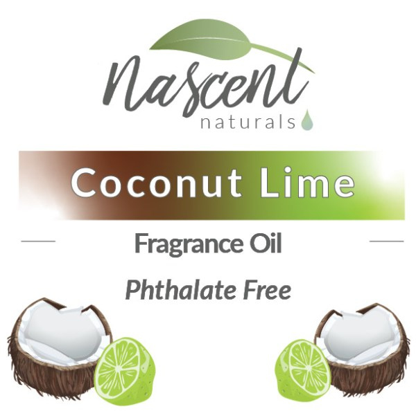 """Text and cartoon images of coconuts and limes in front of a white background. The text says, """"Coconut Lime Fragrance Oil Phthalate Free"""". Up top is the Nascent Naturals logo."""