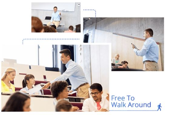 teachers are free to walk freely with PTC500s tracking camera