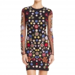 Embroidered Mesh Dress - $128