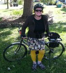 KJ on her 40th birthday, spending the whole day on a bike.