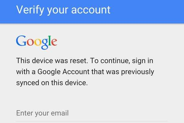 Factory Reset Protection