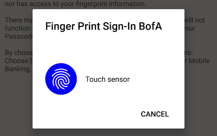 Android fingerprint and Bank of America