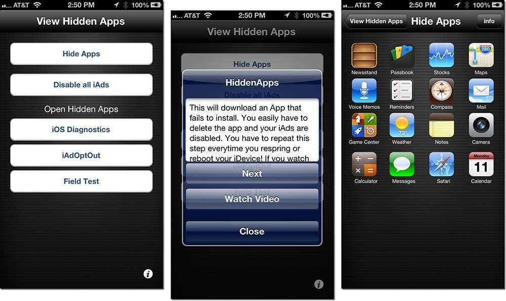 Hidden apple apps
