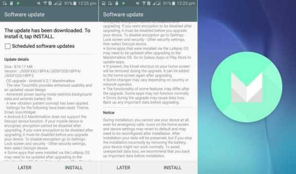 Marshmallow Software Update for Samsung Galaxy J5