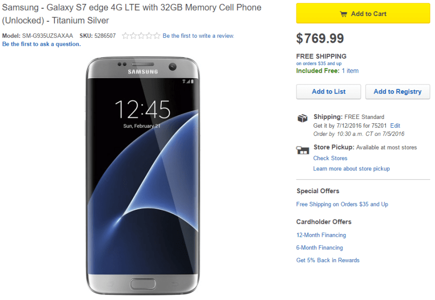 Galaxy S7 and S7 Edge deals