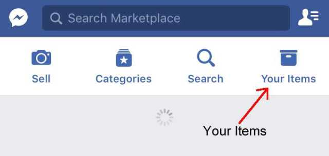 Your Items section Facebook Marketplace