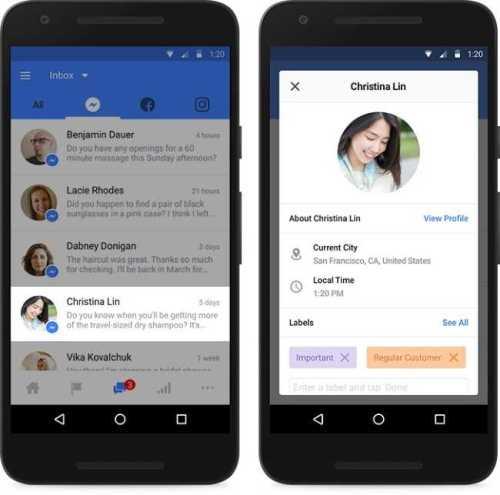 Facebook and Instagram Updated Inbox