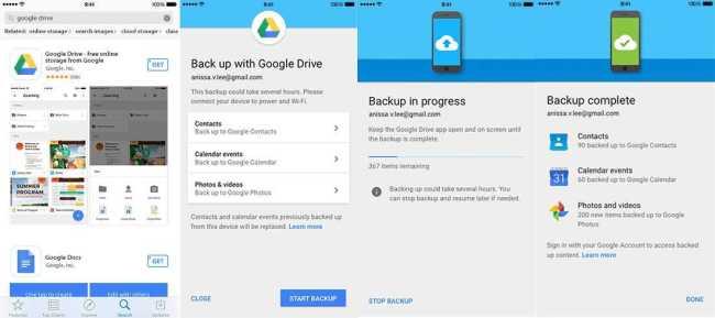 Google Drive for iOS backup