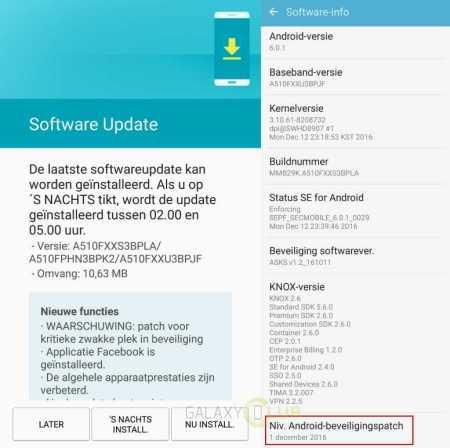 Samsung Galaxy A5 Security Update