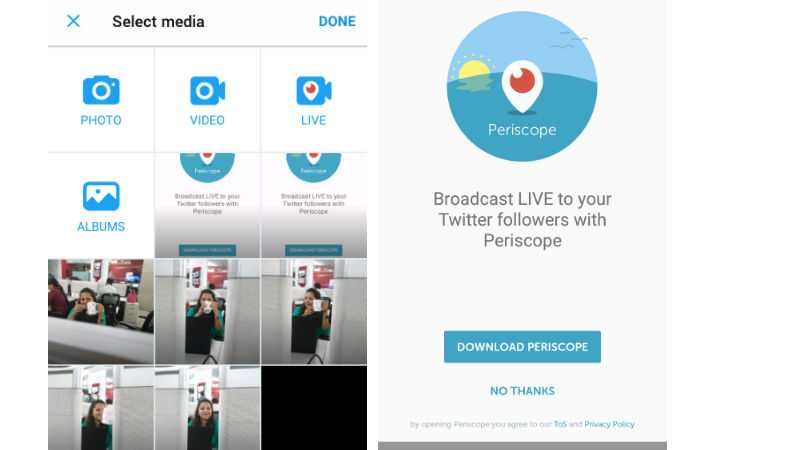 Twitter Live Broadcasting of Videos by Periscope
