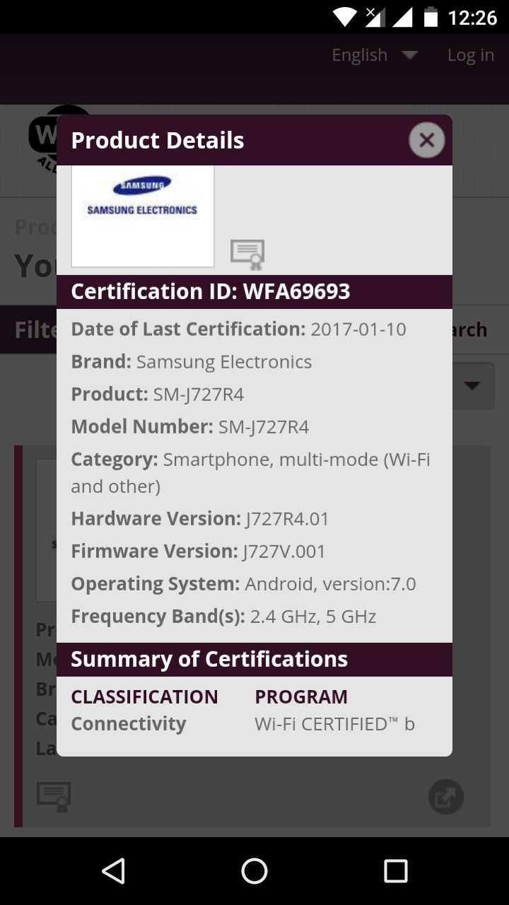 Samsung Galaxy J3, J7 2017 for Verizon and U S  Cellular Pass by Wi