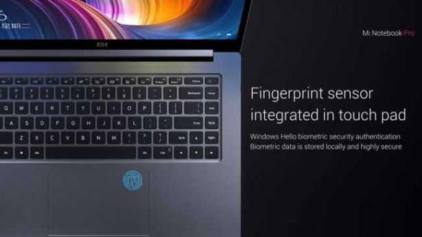 Xiaomi Mi Notebook Pro fingerprint sensor