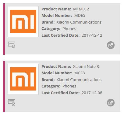 Xiaomi MI MIX 2 and Xiaomi Mi Note 3