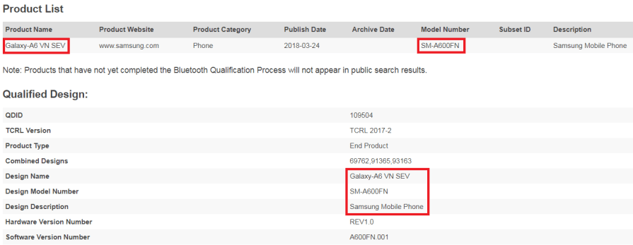 Galaxy A6 Bluetooth Certified