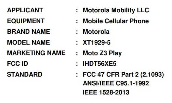 Motorola's Moto Z3 Play specs listed by the FCC