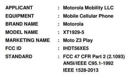 Motorola Z3 Play FCC