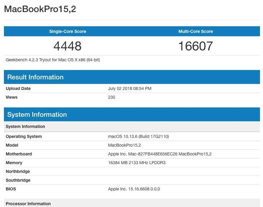 MacBook Pro 15,2 Geekbench