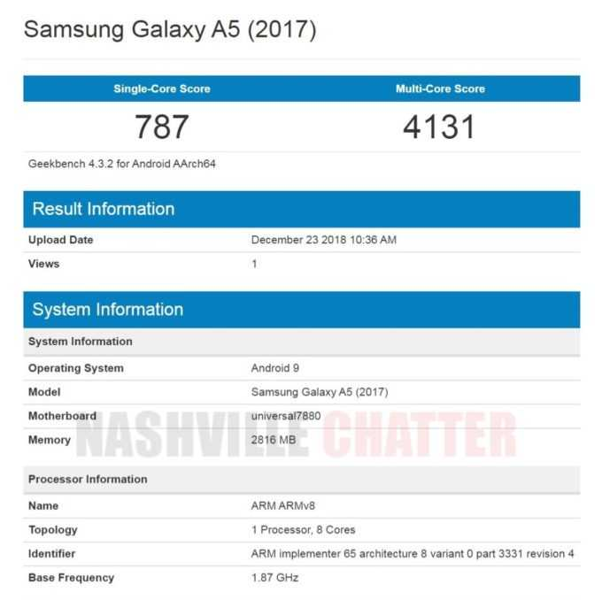 Samsung Galaxy A5 2017 Android Pie