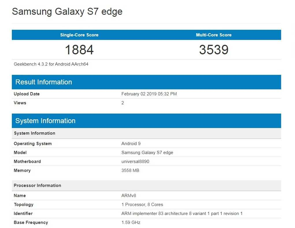 Samsung Galaxy S7 Edge with Android 9 Pie Spotted on Geekbench, But