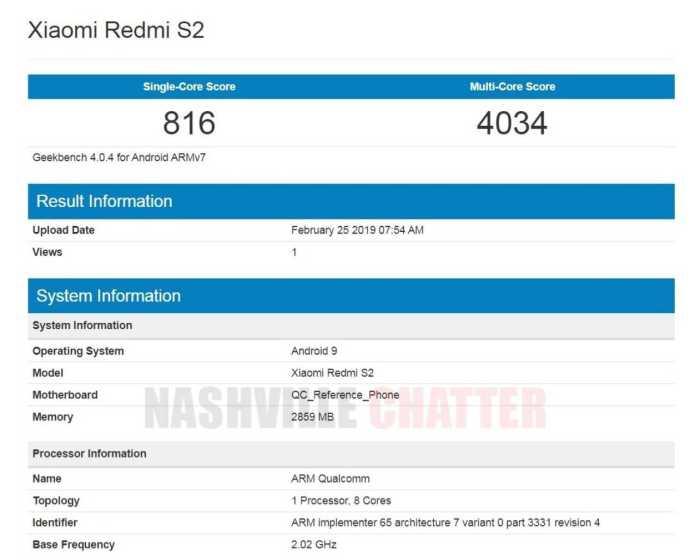 Xiaomi Redmi S2 Android 9