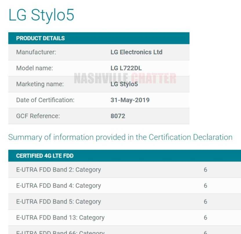 LG Stylo 5 with Model Number LG-L722DL Certified by Global